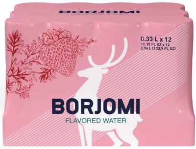 Упаковка минеральной воды Borjomi Флейворд Вотер Земляника-Травы 0.33 л х 12 шт (4860019002398)
