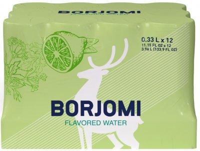 Упаковка минеральной воды Borjomi Флейворд Вотер Лайм-Кориандр 0.33 л х 12 шт (4860019002473)