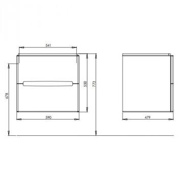 MODO шкафчик под умывальник 60*65*48см белый глянец (пол.)