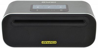 Портативна сенсорна Bluetooth колонка Awei Y600 (Bluetooth, MP3, AUX, Mic) Grey (5587)