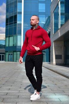Мужской спортивный костюм Асос двойка BD4568 черно-бордовый
