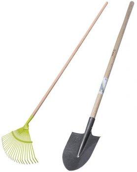 Набор Лопата штыковая + Грабли веерные металлические My Garden 22 плоских зуба (211-4-1460+215-1630)