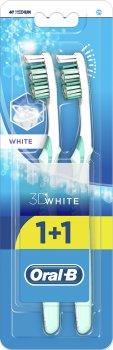 Набор зубных щеток Oral-B 1+1 3D White Отбеливание средней жесткости (3014260022761)