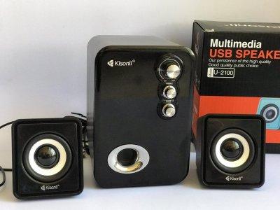 Комп'ютерні колонки Kisonli Technology Co портативні акустика 2.1 USB 11Вт (U-2100-А)