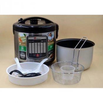 Мультиварка DOMOTEC MS-7725 Silver Steel.объем на 5 литров. Функция отложенного старта, 45 режимов приготовления, в том числе фритюр, тушение, жарку, выпечку и даже йогурт.