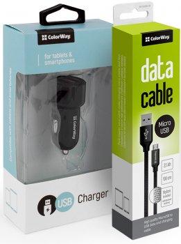 Автомобильное зарядное устройство ColorWay 2 USB QC 3.0 + 2.4 A с кабелем MicroUSB 2.1 A 1 м Black (CW-CASC007)