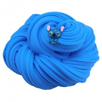 Fluffy Slime с шармом Стич (флаффи слайм лизун) Marpiel MS279 синий 200 мл