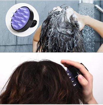 Щетка массажная силиконовая для мытья головы Heeta черная (Heeta73528841)