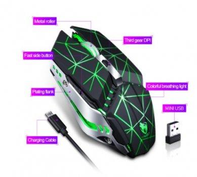 Мышь беспроводная Thunder Wolf Q15 2.4GHz USB бесшумная с подсветкой (sv0387)