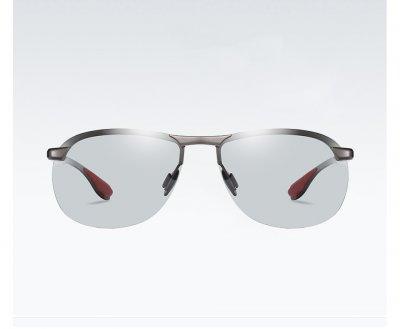 Фотохромные поляризационные очки хамелеоны Lioumo безрамочные с кейсом, оправа Серая (sv0067)