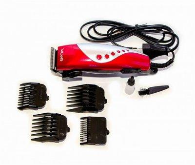 Триммер машинка для стрижки волос Gemei GM 1015 Pro Красный + 4 насадки масло и расческа