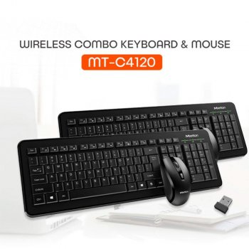 Бездротова клавіатура і мишка набір Combo MeeTion Wireless 2.4 G MT-C4120 RU/EN розкладки Black (MT-C4120)