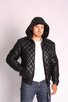 Куртка экокожа с капюшоном ZIBSTUDIO ромбы Чёрная