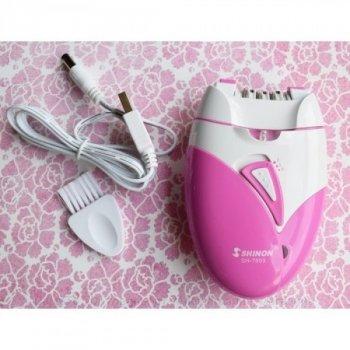 Жіночий епілятор Shinon SH-7803 акумуляторний, світлодіодне підсвічування, USB зарядка, епіляція бікіні рук ніг пахв і обличчя