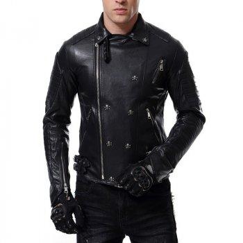 Байкерская куртка из эко кожи черная Lemato