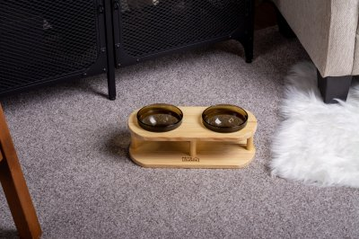 Підставка з мисками для собак і котів Pets Lounge Bowl Black, 2х200 мл