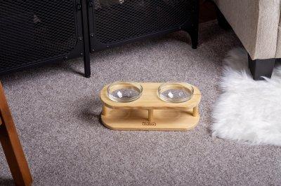 Підставка з мисками для собак і котів Pets Lounge Bowl Glass, 2х200 мл
