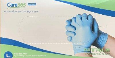 Перчатки Нитриловые Неопудренные CARE365 Голубые L (100 шт)