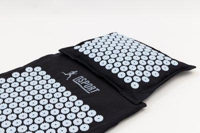 Масажний килимок і подушка (аплікатор Кузнєцова) масажер для спини/голови/ніг/тіла OSPORT Premium (apl-777) Чорно-небесний
