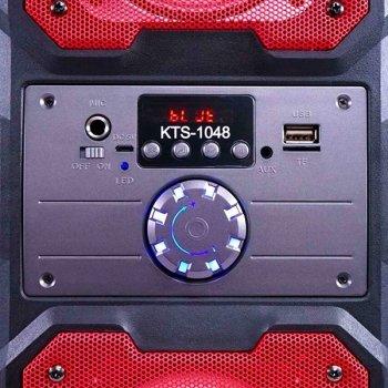 Портативна колонка Bluetooth KTS 1048 BT бездротова 10 Вт з активною підсвічуванням чорна з червоним