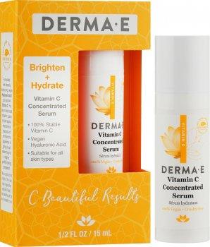 Миниатюра концентрированная сыворотка DermaE с витамином С, пробиотиками и гиалуроновой кислотой в подарочной упаковке 15 мл (030985301519)