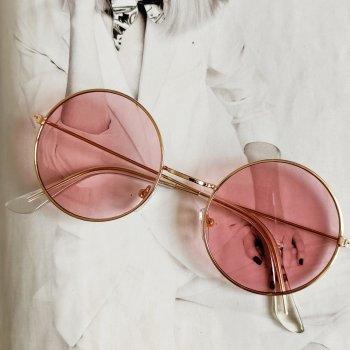 Цветные круглые очки тишейды Розовый