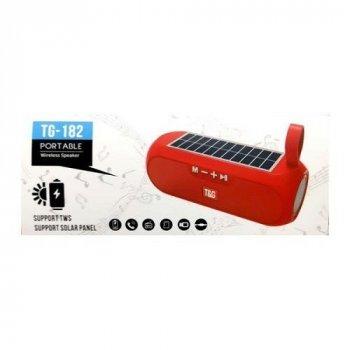 Портативная переносная Bluetooth колонка TG-182 c функцией speakerphone, радио, PowerBank и солнечной батареей. Красная
