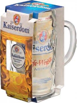 Подарунковий набір пиво Kaiserdom Hefe-Weissbier Krugset світле нефільтроване 4.7% 1 л + кухоль 1 л (4004591137363)