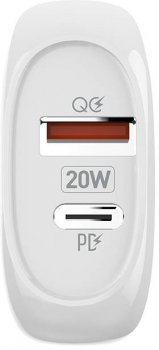 Сетевое зарядное устройство ColorWay (Type-C PD + USB QC3.0) 3.0А 20W White (CW-CHS024QPD-WT)