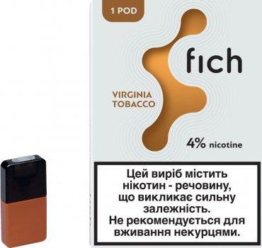 Картридж для POD-систем Fich Pods Virginia Tobacco 4% 40 мг 0.8 мл (Тютюн + мед) (6971575731801)