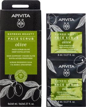 Скраб для лица Apivita Express Beauty с оливой Глубокое отшелушивание 2 шт х 8 мл (5201279072148)