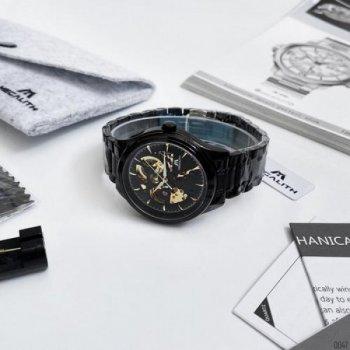 Мужские механичиские часы Megalith Black наручные классические на стальном браслете + коробка (1088-0047)