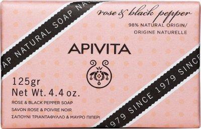 Мыло Apivita с розой и черным перцем 125г (5201279073206)