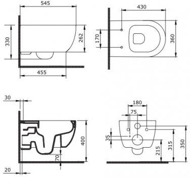 Унитаз подвесной DEVIT Art 2.0 3020140W безободковый CleanPro с сиденьем Soft Close дюропласт