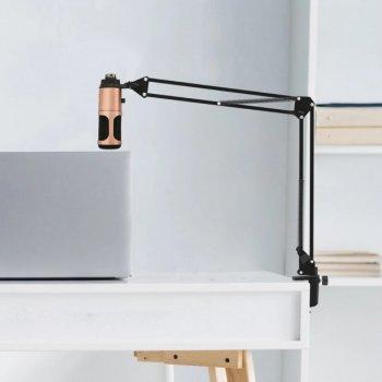 Мікрофон Студійний Music D. J. M-900 USB PRO-MIC Bronze зі стійкою і поп-фільтром, підключення USB