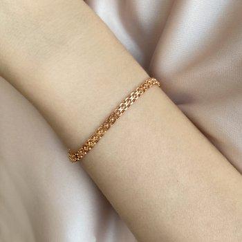 Браслет из красного золота в двойном якорном плетении 000117423 21.5 размера