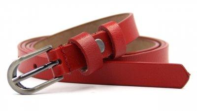 Ремень кожаный узкий женский Красный
