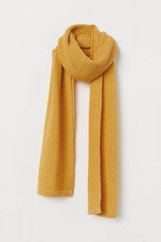 Вязаный шарф H&M 150х180 Желтый (0803935001)