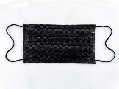 Маска медицинская чёрная 4х слойная с фильтром мельтблаун,одноразовая для лица с зажимом для носа. 09МАСКИ