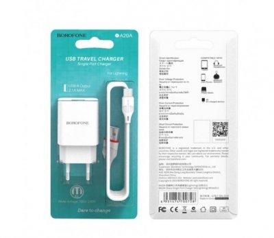 Мережевий Зарядний Пристрій USB Borofone BA20A Micro 1USB 2.1A білий