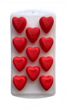 Силиконовая форма для льда Douba Сердце 11 ячеек Красная