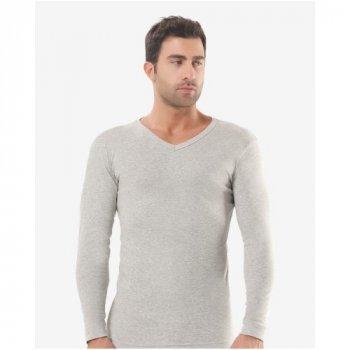 Мужская футболка с длинным рукавом (лонгслив) Oztas 1007-A светло-серая 50% хлопок 50% полиэстер