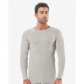 Чоловіча футболка з довгим рукавом (лонгслів) Oztas 1018-A світло-сірий 100% бавовна