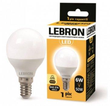 Лампа світлодіодна Lebron L-G37 6Вт 3000К Е14 упак 10 шт.