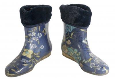 Сапоги резиновые женские утепленные Verona Цветы на синем (Justa)