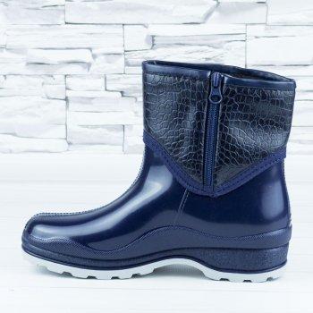 Полусапожки ботинки резиновые W-shoes 111-b утепленные непромокаемые синие b-608