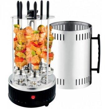 Электрошашлычница для дома вертикальная на 6 шампуров Domotec BBQ (MS-7781) 1000Вт Черная