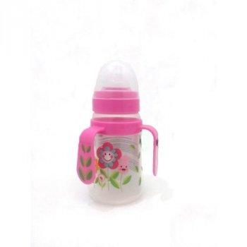 Пляшка пластикова з ручками та силiконовою соскою 150 мл DYDUS b151 (рожева)