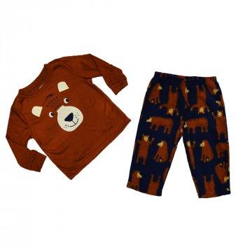 Пижама для мальчика (1 шт) Carter's коричневая кофта с мордочкой медведя и тёмно-синие штаны