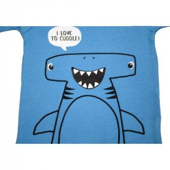 Пижама для мальчика (1 шт) Carter's синего цвета футболка с акулой и полосатые шорты